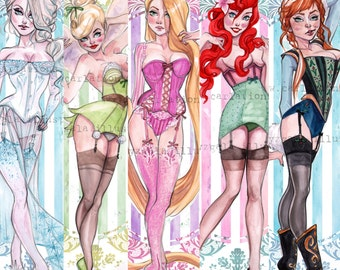 Pin UP Tinkerbell Little Mermaid Rapunzel fairy tale princess inspired Watercolor Art Print set of 5 Carla Wyzgala Carlations