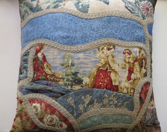 Crazy Quilt Blue and Red Landscape Pillow Cover. Scenic toile ladies portrait 18x18 inches No. 2