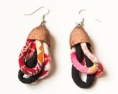 silk EARRINGS- textile jewelry,burgundy, red and brown
