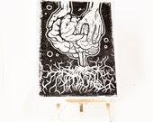LINOCUT PRINT- anatomical BRAIN and roots - artistic print- linogravure