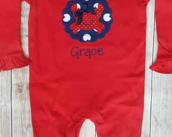 Long Romper with crab applique for baby girls