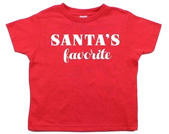 Christmas White Santa's Favorite Short Sleeve Toddler T-Shirts 100% Cotton