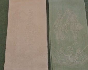 Vintage Towels 2 Piece Damask Assortment, Matching Pattern, Guest Towels, Fingertip Towels, Tea Towels
