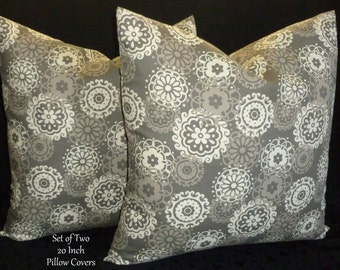 20 Inch Pillows,Throw Pillows, Pillow Covers, Decorative Pillows, Accent Pillows -  Set of Two 20 Inch - Taupey Grey and Ivory