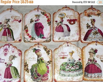 Christmas in July Vintage Gift Tags Marie Antoinette Christmas Gift Tags Assorted Set of 8