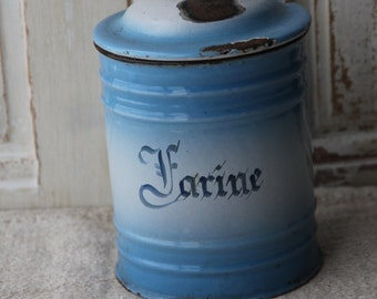 French enamel blue and white farine canister