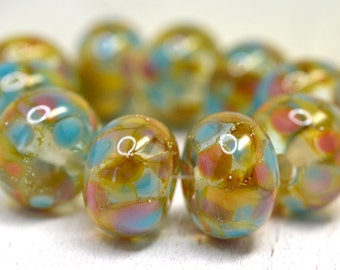 SRA handmade, gorgeous amber, lavender, aqua, pink, peach lampwork bead set for making jewelry 122815-1