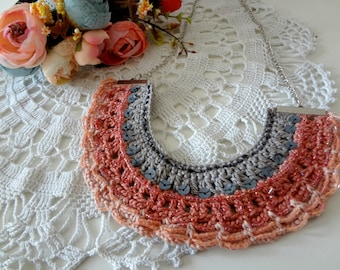 Crocheted Tribal Necklace #1 - crochet and bead necklace, bib necklace, bohemian, ethnic,gypsy jewelry native american