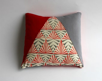 Cushion cover red and grey triangle, hand printed fabric, scandinavian design inspired, geometric pattern, limited edition, cotton