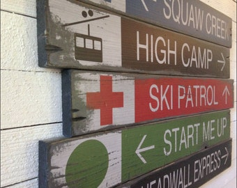 "Five Customizable Rustic Wood Signs, Large ""Ski Resort Trail Signs"", Handcrafted Signs - Original Alpine Graphics Design - 3 Sizes - 4002"
