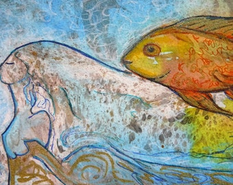 Go fish.Nature art.Fish.Divine feminine art.Book lover.bookmark art.Original BOOKMARK.OOAK bookmark.Gioia Albano art.Fish bookmark.Fish love