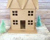Cardboard Mini House Ornament DIY Christmas ready to paint decorate Craft Supplies Cottage Paper Mache