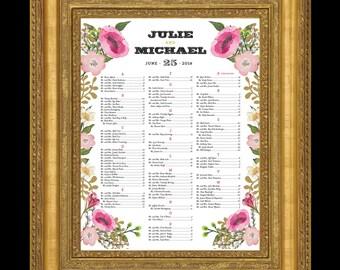 Floral border Wedding seating chart Fuchsia white gold - 24 hour turnaround