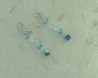 SWAROVSKI: 3 Shades of Blues Crystal Colorful Wedding Prom Earrings Sterling Silver