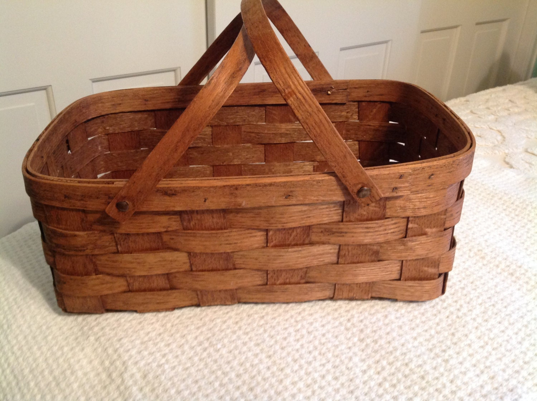 Woven Gathering Basket : Vintage split oak basket woven gathering