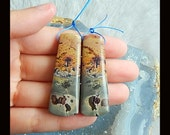 New,Chohua Jasper Earring Bead,46x15x6mm,16.4g