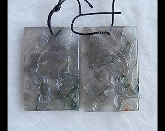 Carved Moss Agate Flower Earring Bead,35x23x4mm,15.02g
