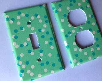 Mint Green Polka Dots Light Switch Cover / Mint Green Nursery Decor  Mint Nursery Decor / Minimalist Decor / Mint Green Home Decor