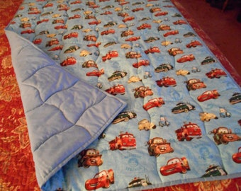 "Disneys Cars Radiator Springs Homemade Toddler  Bed or Baby Crib  Quilt  Comforter 36 "" x  52 ''"