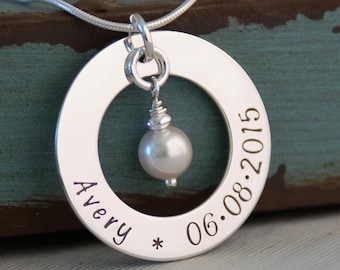 Hand Stamped Jewelry - Mommy Necklace - Personalized Sterling Silver Necklace - Simplicity Family Circle of Love Washer