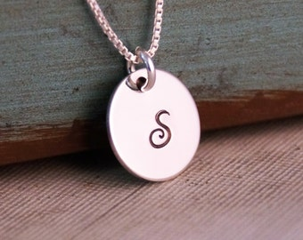 Custom Necklace - Personalized Jewelry - Sterling Silver Hand Stamped Jewelry - Small Initial Necklace