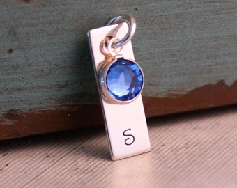 Bar Initial tag with birthstone / Hand Stamped Small Vertical Tag / Personalize small tag
