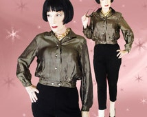Rare Vintage Jac Shirt for Women - 50s Rayon Satin Gold Metallic Dressy Blouse - Rhinestone Buttons
