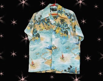 Men's Vintage Hawaiian Shirt - 1960s Tropical Aloha Shirt - 60s Van Cort - M
