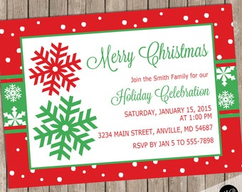 Christmas invitation, christmas party invitation, holiday invitation, holiday party invitation, snowflake invitation, red and green CRS02