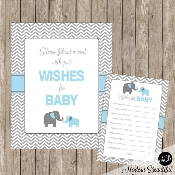 baby shower wishes for baby card and sign in blue elephant theme for a