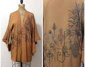 Reserved // 1920s 1930s Rayon Metal Thread Kimono Robe 20s 30s Metallic
