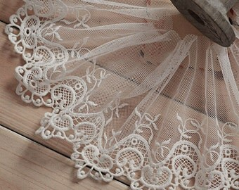"5 yard 12cm 4.72"" wide ivory mesh tulle gauze fabric embroidered tapes lace trim ribbon 1131 free ship"