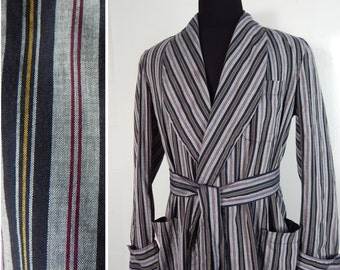 Mens Vintage 1950s Robe Stripe Cotton. Wide Shawl Collar. Patch Pockets.  Large