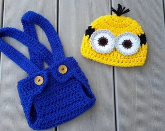 Minion, photo prop, newborn hat and diaper cover, newborn Halloween costume, photography prop, READY TO SHIP