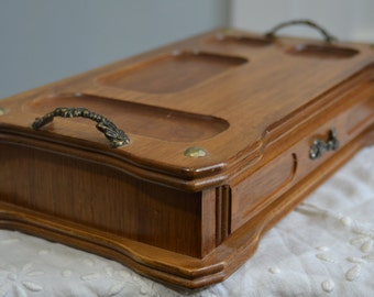 Vintage Wood Mens Valet Jewelry Box