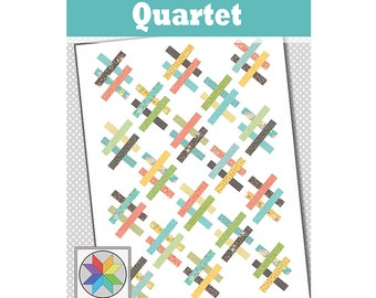 Quartet - A jelly roll friendly quilt pattern in 4 sizes