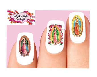 Waterslide Nail Decals Set of 20 - The Virgin Mary Our Lady of Guadalupe Assorted