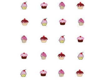 Waterslide Nail Decals Set of 20 - Cupcakes Assorted