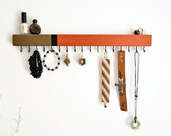 Modern Jewelry Organizer Wall Mount - Jewerly Holder -  Minimalist - Necklace Holder - Pick your colors