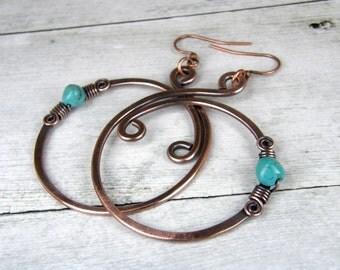 Turquoise & Copper Hoop Earrings, Oxidized Copper Wire Earrings, Hammered Copper Wire Earrings