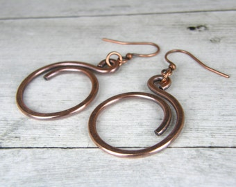 Small Hammered Copper Wire Earrings,Antiqued Copper Hoop Earrings, Rustic Copper Hoop Earrings