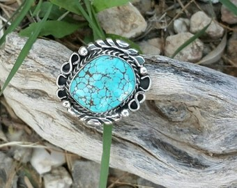 Kingman Spiderweb Turquoise Southwest Sterling Silver Ring Size 8 1/4