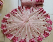 2 Yards Lace Trim Exquisite Red Flowers Embroidered Pink Tulle Lace 9 Inches Wide High Quality