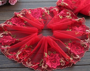 2 Yards Lace Trim Big Rose Flower Embroidered Red Scalloped Tulle Lace 7.48 Inches Wide High Quality