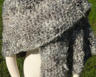 Soft Mohair Shawl, Natural Colored Handspun Yarn, Silver, Gray, Black, White, Handmade, Outerwear Wrap, One of a Kind, Cape, All Season