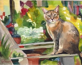 Print of the Original Watercolor Painting Tabby Cat in the Garden Flowers Wall Decor Decoration Art Artwork Picture  Image