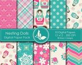 50% off Nesting Dolls Paper Pack - 10 Printable Digital Scrapbooking papers - 12 x12 - 300 DPI