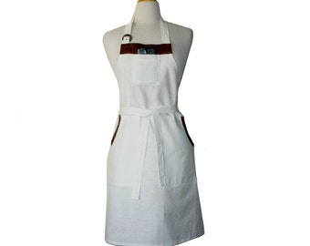 Linen Full Apron In White And Brown