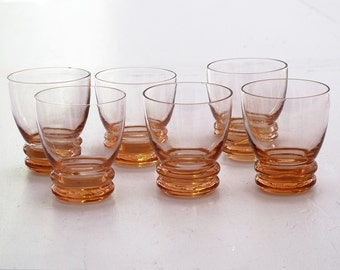 6 Vintage french Appetizer Glass glasses from the 50s,  Pink glasses, pink peach liquor glasses