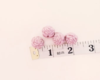 4 Pink Flower Beads, Rose, Floral, Vintage, Plastic